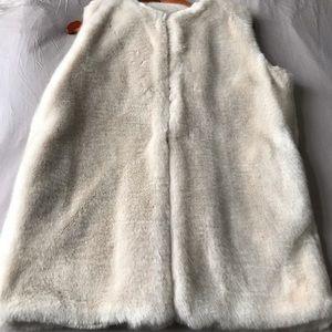 Blush coloured faux fur vest